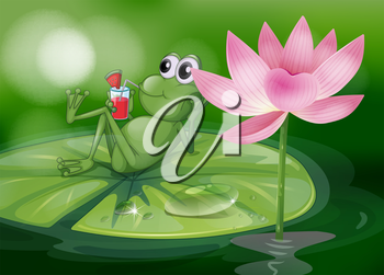 Illustration of a frog above the waterlily