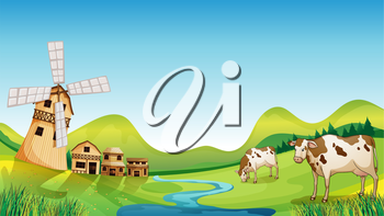 Illustration of a farm with a barn and cows