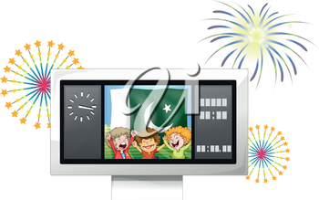 Illustration of the three kids inside the scoreboard in front of the Pakistan flag on a white background
