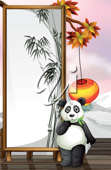 Illustration of a panda with a bamboo-designed frame