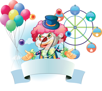 Illustration of a clown with a signage and a ferris wheel and balloons at the back on a white background