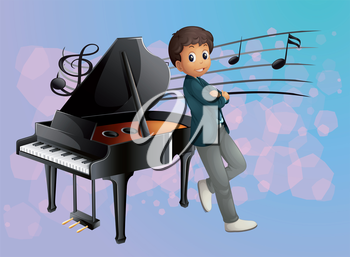 Illustration of a piano at the back of the musician