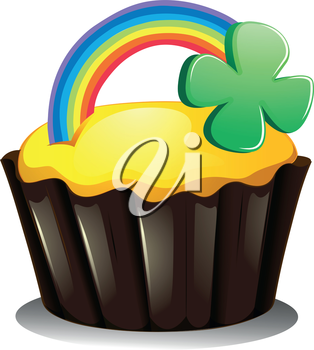 Illustration of a cupcake with a rainbow and a plant on a white background
