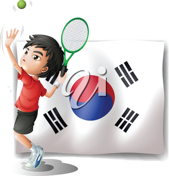Illustration of a tennis player in front of the South Korean flag on a white background