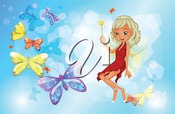 Illustration of a fairy with a red dress beside the group of butterflies