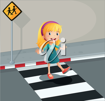 Illustration of a young lady crossing the pedestrian lane