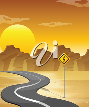 Illustration of a curved road in the desert