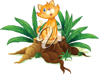 Illustration of a cat sitting on a stump with leaves  on a white background