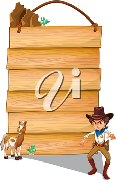 Illustration of a cowboy and a donkey in front of the empty signboards on a white background