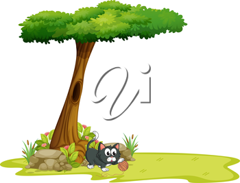 Illustration of a cat playing under a tree with hollow on a white background