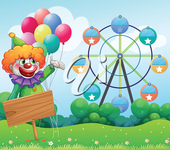 Illustration of a clown with balloons at the back of an empty board