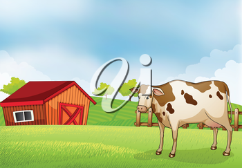 Illustration of a cow in the farm with a barn house