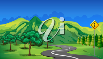 Illustration of a curve road going to the mountain