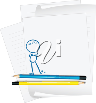 Illustration of a paper with a drawing of a person standing on a white background