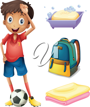 Illustration of a soccer player with his backpack and bathroom stuffs on a white backgrounds