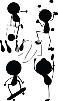 Illustration of the different silhouettes of sports on a white background