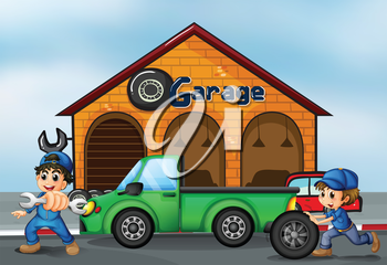 Illustration of the two boys repairing a truck
