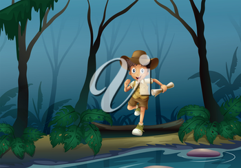 Illustration of an adventurer in the forest