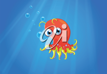 Illustration of a red octopus in the middle of the sea