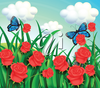 Illustration of the butterflies in the garden