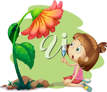 Illustration of a girl holding a magnifying glass under a flower on a white background