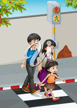 Illustration of a family crossing the street