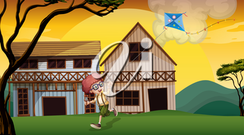 Illustration of a boy playing with his kite in front of the wooden barnhouses