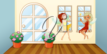 Illustration of the two fairies sitting at the window