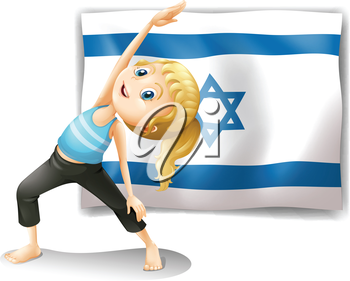 Illustration of a girl performing yoga in front of the Israel flag on a white background