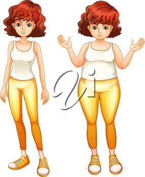 Illustration of the two different body types on a white background