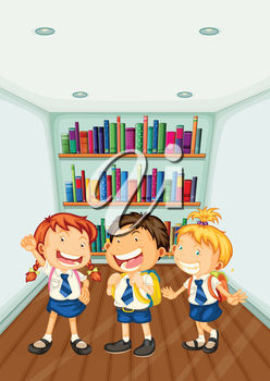 Illustration of the three kids wearing their school uniforms