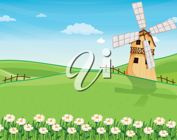 Illustration of a farmhouse above the hills with a windmill