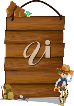 Illustration of a cowboy and the empty wooden signboards on a white background