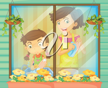 Illustration of a child helping her mother washing the dishes