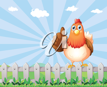 Illustration of a big fat hen above the fence