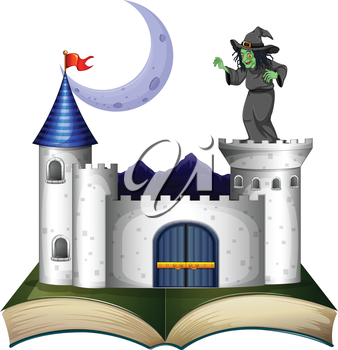 Illustration of a book with a castle and a witch on a white background