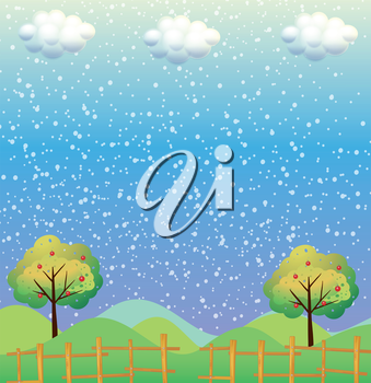 Illustration of the snowflakes at the hills