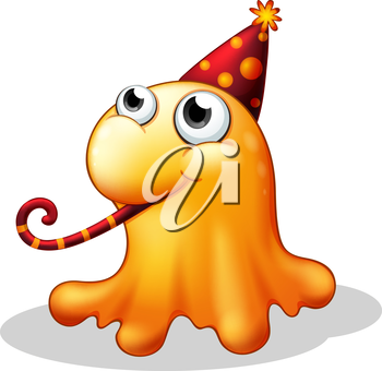 Illustration of a monster wearing a party hat on a white background