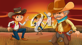 Illustration of the three scary cowboys at the desert