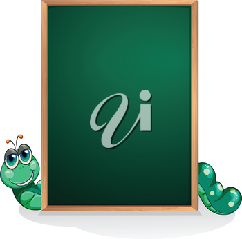 Illustration of a caterpillar at the back of an empty board  on a white background