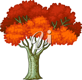 Illustration of a tree with red leaves on a white background