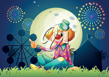 Illustration of a female clown at the carnival