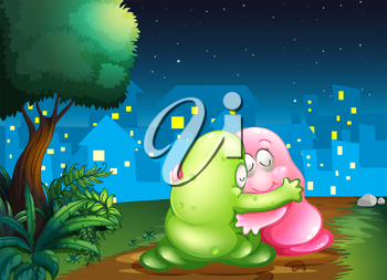 Illustration of a pink and a green couple monsters hugging each other at the pathway
