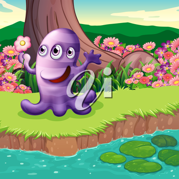 Illustration of a three-eyed violet monster at the riverbank