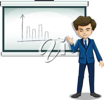 Illustration of a man explaining the graph in the bulletin board on a white background