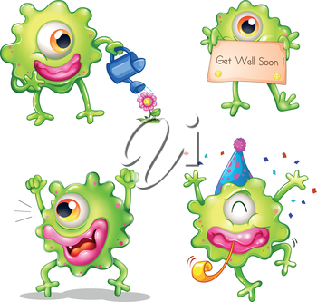 Illustration of the activities of the green one-eyed monster on a white background