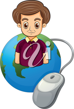 Illustration of a globe with a serious man on a white background