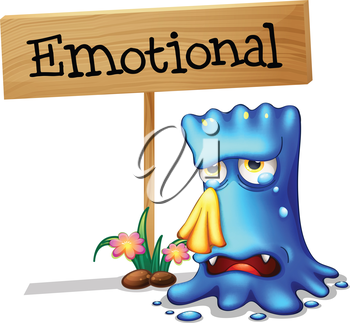 Illustration of a very emotional monster near a signboard on a white background