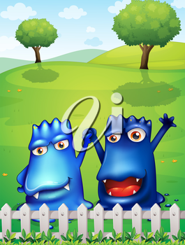 Illustration of the two blue monsters near the wooden fence