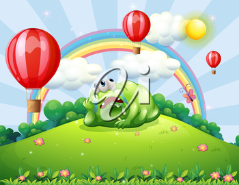 Illustration of a tired monster above the hill watching the hot air balloons